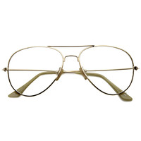 Retro Full Metal Aviator Sunglasses With Clear Lenses Glasses 9591