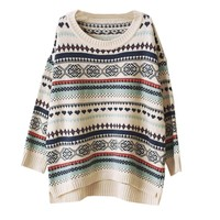 Zeagoo Women's Knitted Stripe Casual Loose Pullover Thick Sweater Outwear Beige