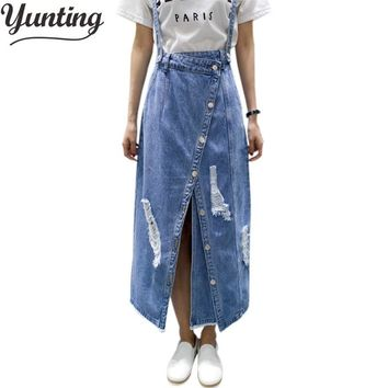 yunting Ladies irregular Front Slit Elegant Denim Skirts Suspender Split Saias Summer Ripped Womens Skirt Jeans Jupe Hole