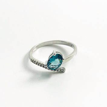 Oval Blue Topaz CZ Sterling Silver Ring
