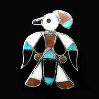Zuni Sterling Bird Brooch - Silver Mosaic Gemstones Black onyx, Turquoise, Coral, Mother of Pearl - Silversmith Artisan Signed REX