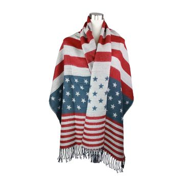 STAR & STRIPES FRINGE END BLANKET SCARF
