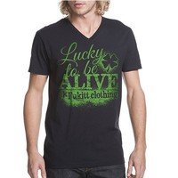 "Men's ""Lucky To Be Alive"" V Neck Tee by Fukitt Clothing (Black)"