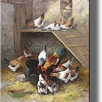 Rooster and Hens in Chicken Coop by Neuville, Picture on Stretched Canvas Wall Art Decor, Ready to Hang!