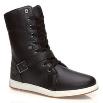 Street Style Men's Boots With Buckle and PU Leather Design