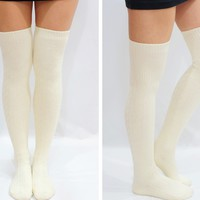 Comfy Knit Thigh High Knee High Socks /Tights -Creamy white