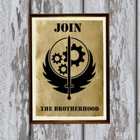 Apocalyptic print Fallout decor Brotherhood of Steel Vintage paper 8.3 x 11.7 inches