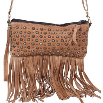 ICIKAB3 Double J Saddlery Small Camel Fringed Leather Clutch LC26