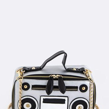 Boom Box Crossbody Handbag Purse in Silver