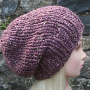 Hand Knit Hat Women's Hat- Rustic Mega chunky- slouchy- beanie hat with wool