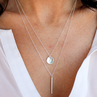 Petite Hammered Disc Necklace