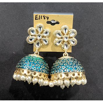 Flower stud with large jhumka hanging enamel n pearl bead dangling earring