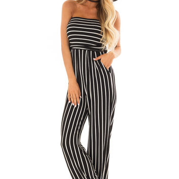 Black and White Striped Sleeveless Jumpsuit