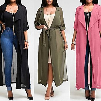 Women Coat Solid Color Windbreaker Sleeve Top Jacket Chiffon Cardigan