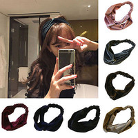 Women Velvet Cross Twist Headband Hair Band Turban Elastic Headband Bandage