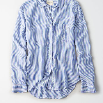 AE Classic Striped Button Up Shirt, Blue