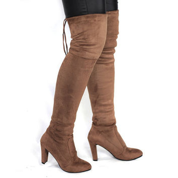 Suede Thigh High Boots up to Size 10.5 (26.5cm EU 43)