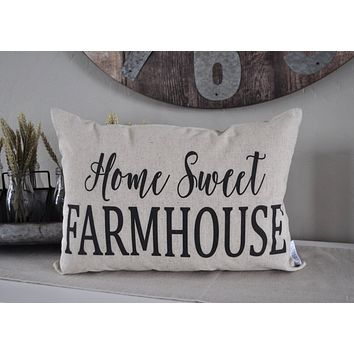 Farmerhouse pillow, rustic Pillow Cover, Spring pillow cover, home sweet farmhouse, 14x20