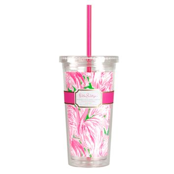 Tumbler with Straw in Pink Colony by Lilly Pulitzer