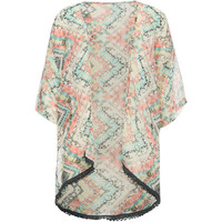 Full Tilt Tile Print Girls Kimono Assorted Bright  In Sizes