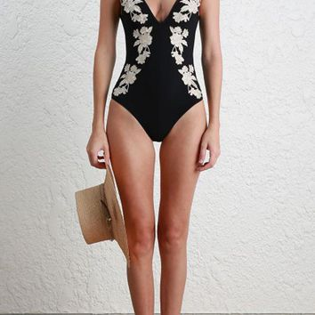 Black Embroidered V-Neck One Piece Beachwear