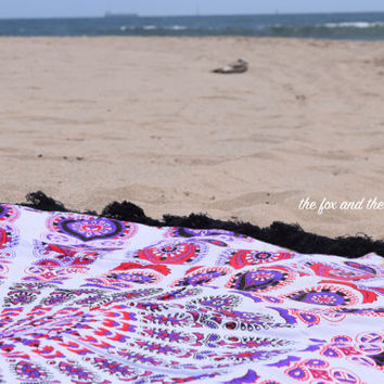 Beach roundie, mandala tapestry, boho wall tapestry, indian tapestry round blanket, boho decor, round yoga mat, meditation blanket, throw
