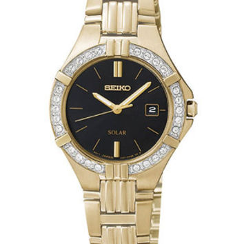 Seiko Solar Ladies Crystal Dress Watch - Black Dial - Gold-Tone Case & Bracelet