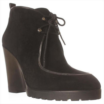 MICHAEL Michael Kors Beth Wedge Lace-Up Ankle Booties, Black, 6.5 US / 36.5 EU