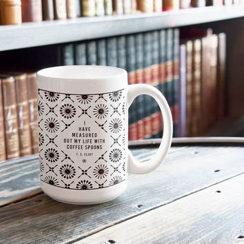 SALE - T.S. Eliot Coffee Mug, Gift for Boss Ceramic Mug, Coworker Coffee Lovers Gift for Her, Literary Gift for Him, College Student Gift Ho
