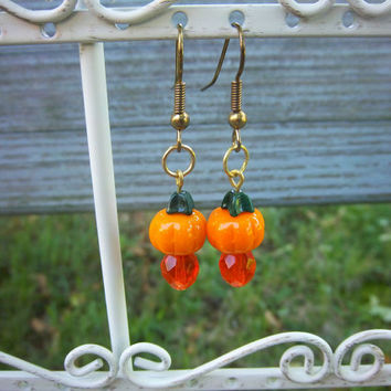Halloween Autumn Gold Pumpkin Gem Earrings