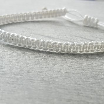 White Macrame Square Knot Friendship Bracelet