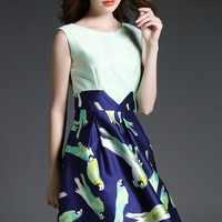 Parrot Printed Sleeveless Skater Dress