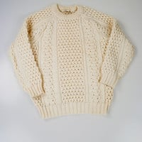 Cream Cable Knit Aran Sweater by Bonner Ireland Size M