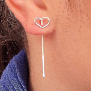Love earrings - Silver heart long Earrings - Heart Earrings Studs - Unique - Jewelry gift for her by Tiny Box
