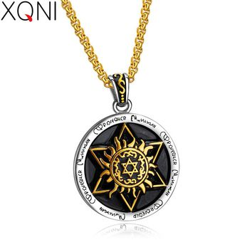 XQNI New Arrival Six-pointed Star Sun Totem Pendant Necklace For Men Supernatural Star Box-chain Necklace Jewelry Engraving Gift