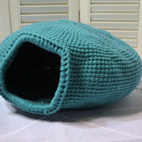 Crochet Cat Cave Nest  Pet Bed Teal Green Blue Handmade Littlestsister