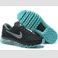 Tagre™ NIKE Trending Fashion Casual Sports Shoes AirMax section Black Silver hook Green soles
