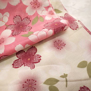 Japanese Shabby Chic Cotton Fabric, Pink White Sakura Cherry Blossom Flower On White Pink, Quilting Clothes Fabric- 1/2 yard