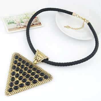 Retro Exaggerated Triangle Temperament Necklace with Weaving String, Rocker Style Jewelry, Party Jewelry, Birthday Gift 11022382