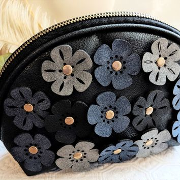 Perfect Image Navy Blue Riveted Flowers Makeup Cosmetic Bag