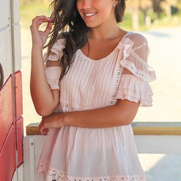 Blush Top with Pleated Front and Mesh Detail