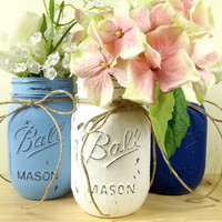 Hand Painted Mason Jars, Three Rustic - Style Jars, Medium Blue, White and Dark Blue Mason Jars