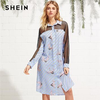 SHEIN Multicolor Long Sleeve Casual Dress 2018 Spring Fall Striped Animal Print Shirt DressEyelet Mesh Inset Mixed Print Dress