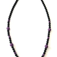 "Kenneth Jay Lane KJL Black Bead & Purple Pave Bubble Beaded Necklace 40"" 101 cm"