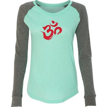 Red Brushstroke AUM Preppy Patch Elbow Yoga Tee Shirt