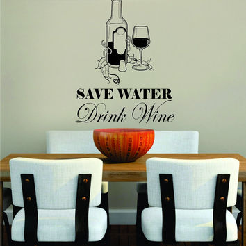 Save Water Drink Kitchen Bar Quote Man Cave Design Decal Sticker Wall Vinyl Decor Art