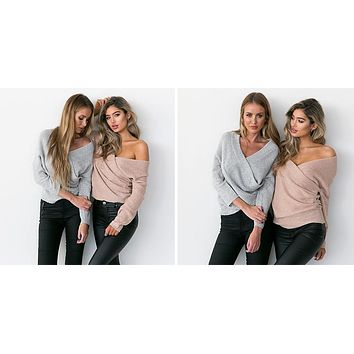 V Neck Batwing Long Sleeve Sweater