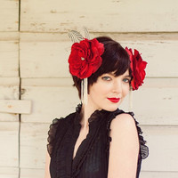 Red Feather Headress with Roses & Silver Pheasant Feathers - ROSE RED