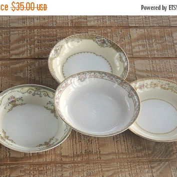 On Sale Noritake Mismatched Soup Bowls Set of 4 Replacement China, Elegant Fine Dining, Hollywood Regency
