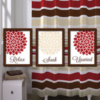 Bathroom Wall Art Artwork Canvas Relax Soak Unwind Red Beige Ivory Brown Dahlia Flower  Set of 3  Prints  Decor Shower Curtain Match Three